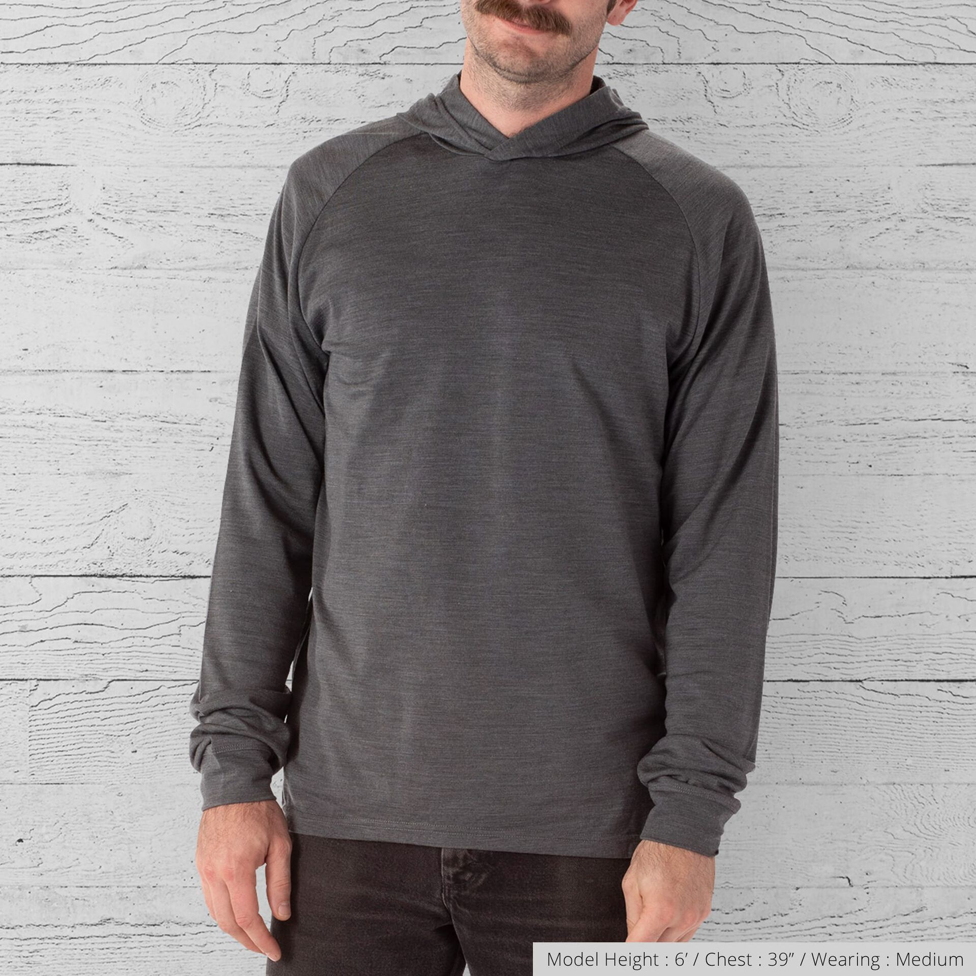 Merino Long Sleeve Hoodie in Charcoal  - wide view.