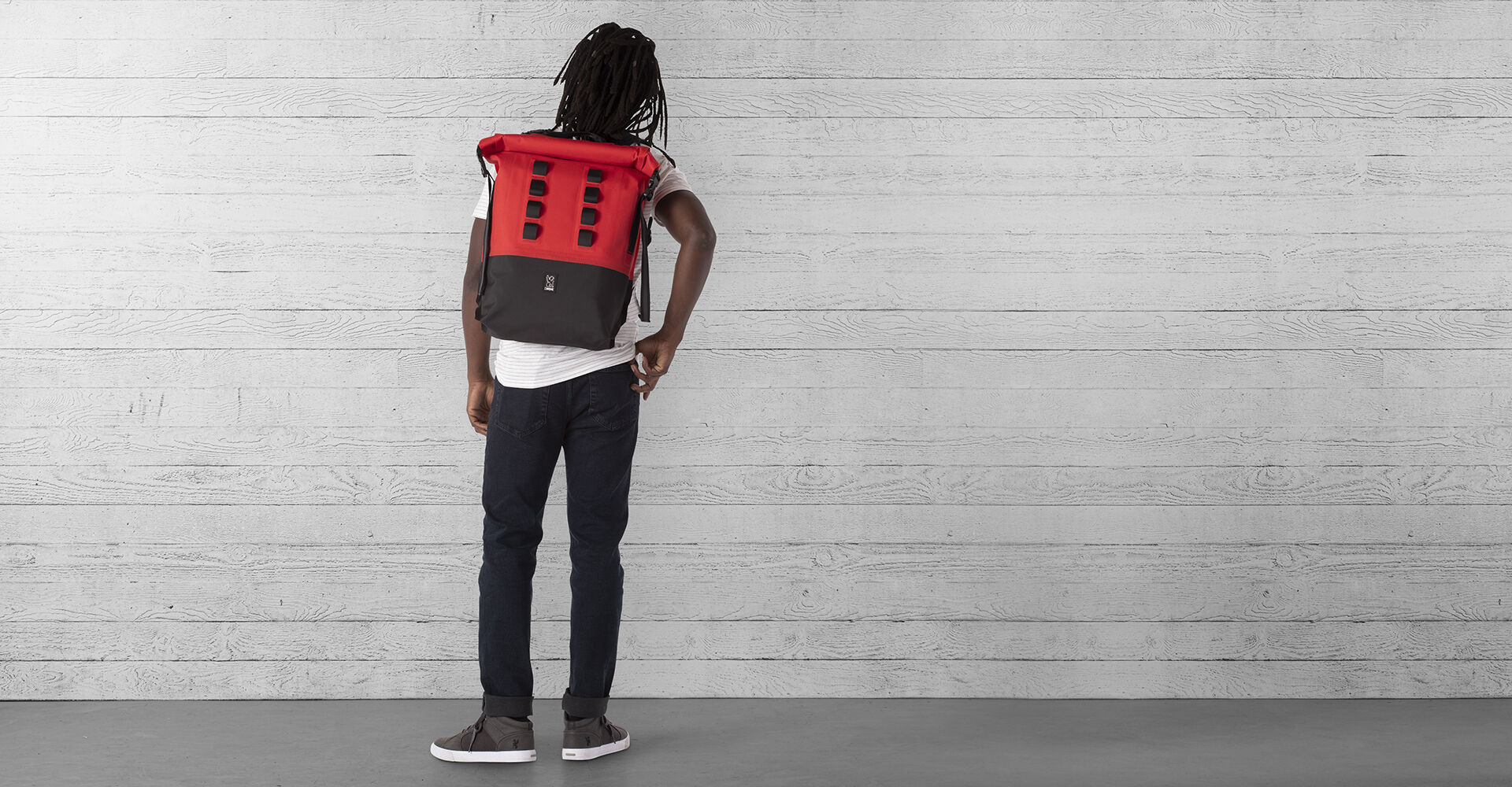 Urban Ex Rolltop 28L Backpack in Red / Black - wide view.