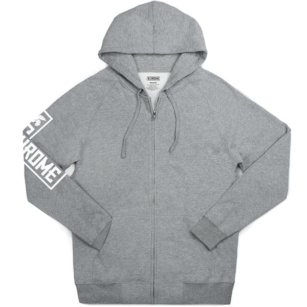 Flying Lion Zip Hoodie in Heather Grey - hi-res view.