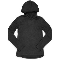 Women's Merino Long Sleeve Hoodie in Black - hi-res view.