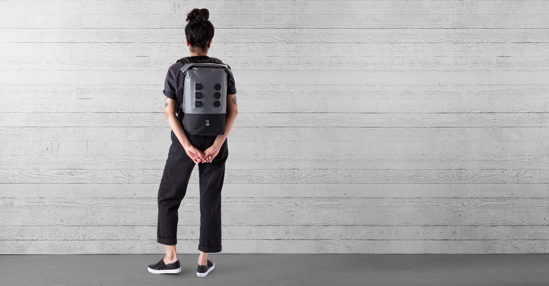 Urban Ex Rolltop 18L Backpack in Grey / Black - wide view.