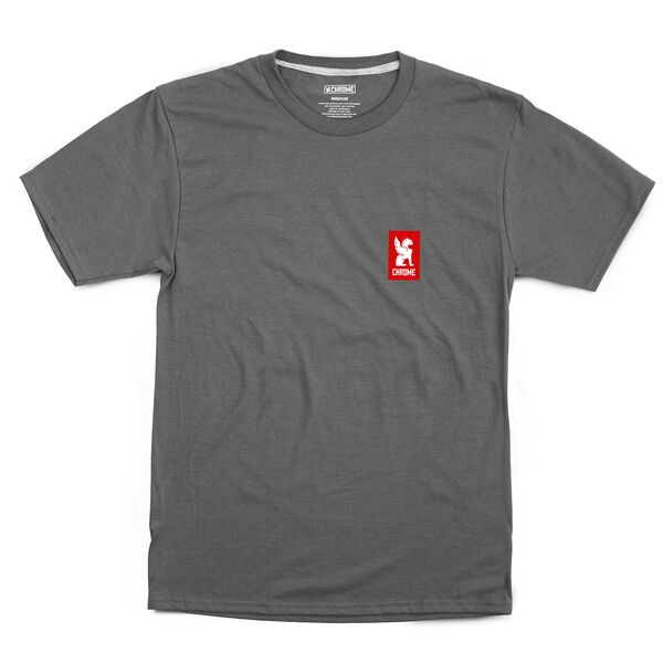 Vertical Logo Tee in Charcoal / Red Graphic - hi-res view.