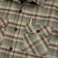 Woven Stretch Workshirt in Olive Leaf Plaid - small view.