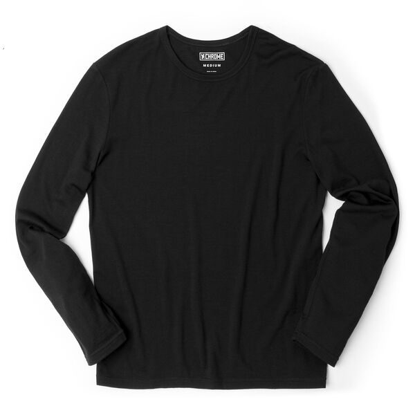 Merino Long Sleeve Tee in Black  - medium view.