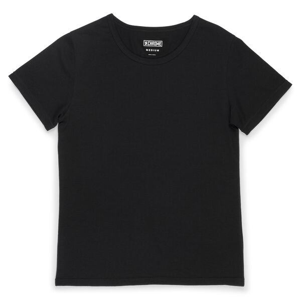Women's Merino Short Sleeve Tee in Black  - hi-res view.