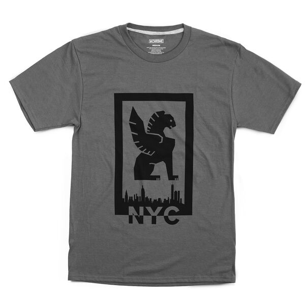 New York Hub Tee in Charcoal / Black Graphic - hi-res view.