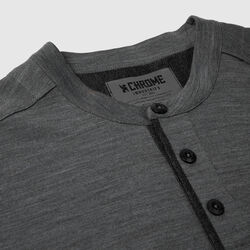 Short Sleeve Merino Henley in Charcoal - small view.