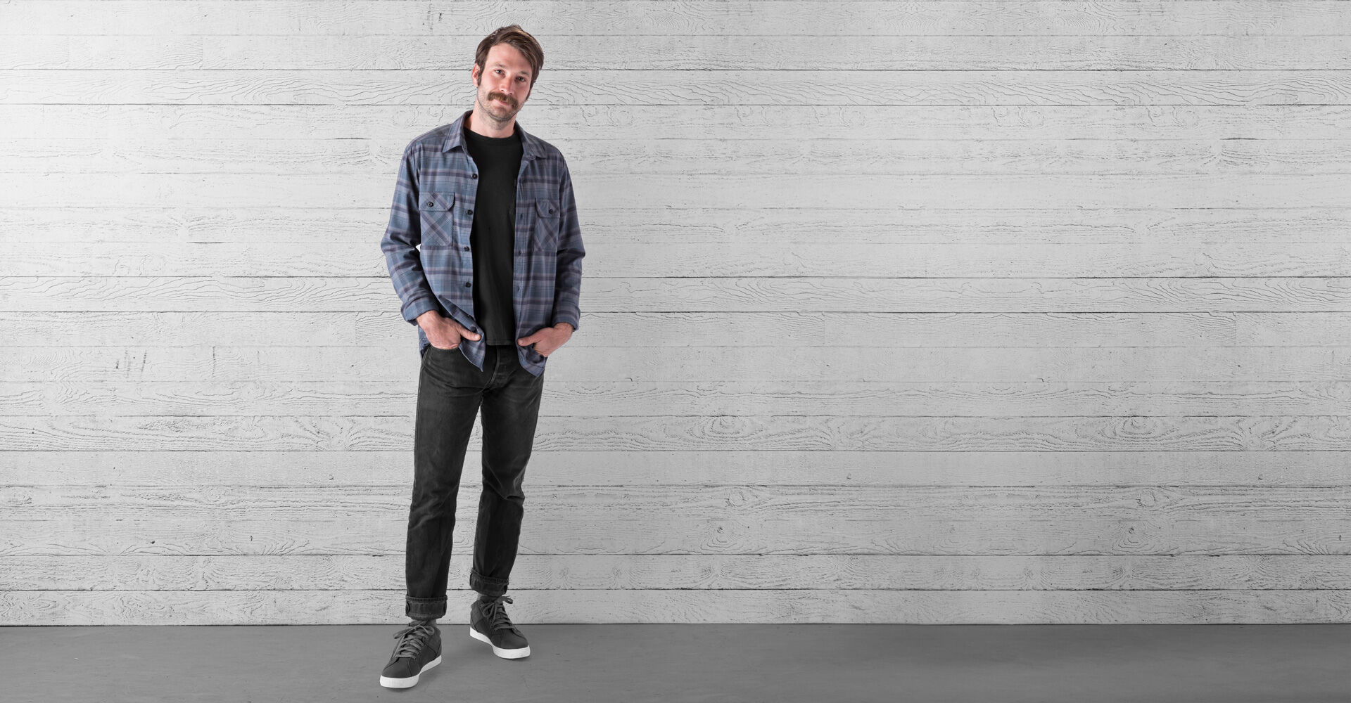 Woven Stretch Workshirt in Midnight Navy Plaid - wide view.