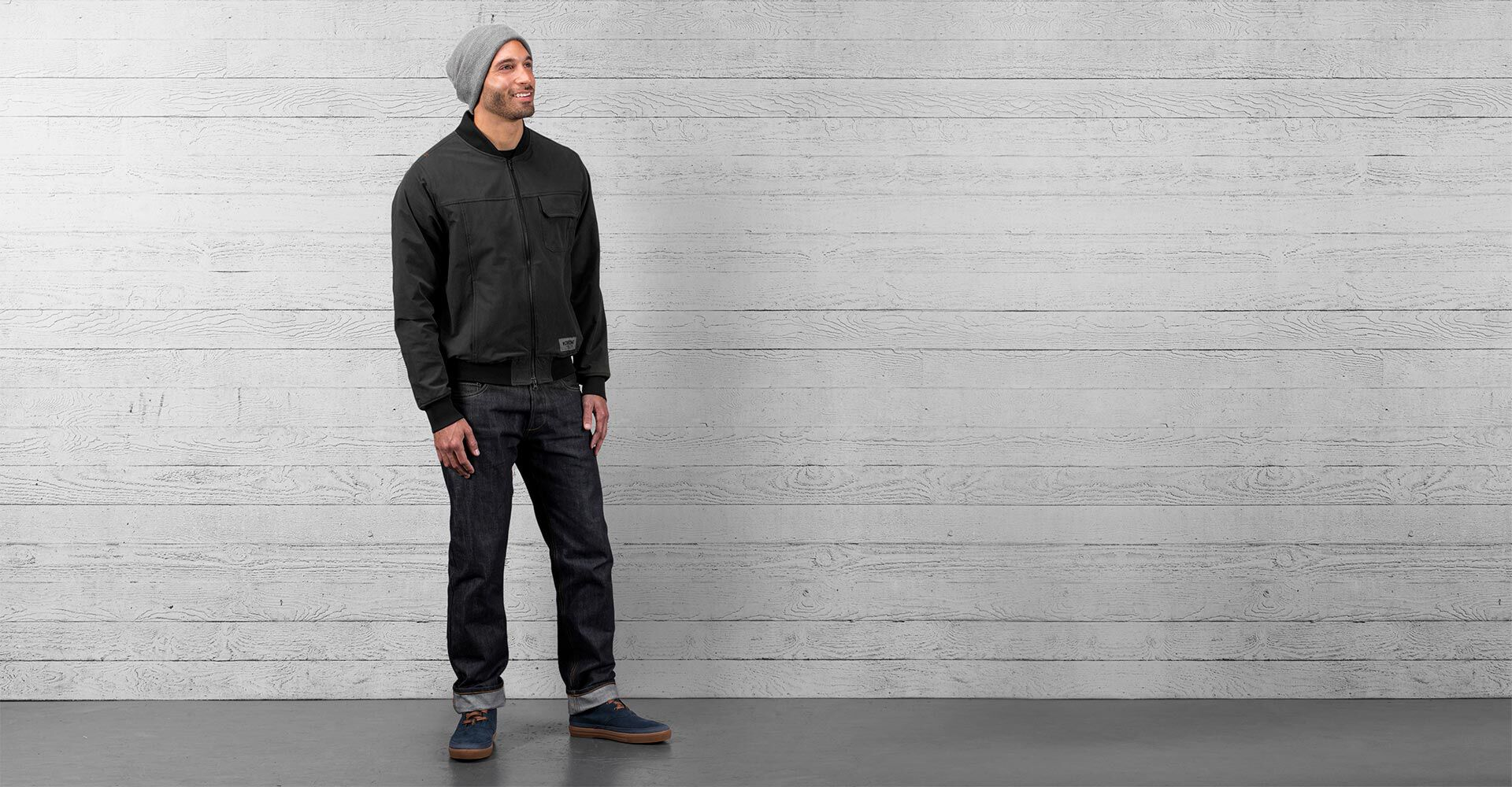 Utility Bomber Jacket in Black - wide view.