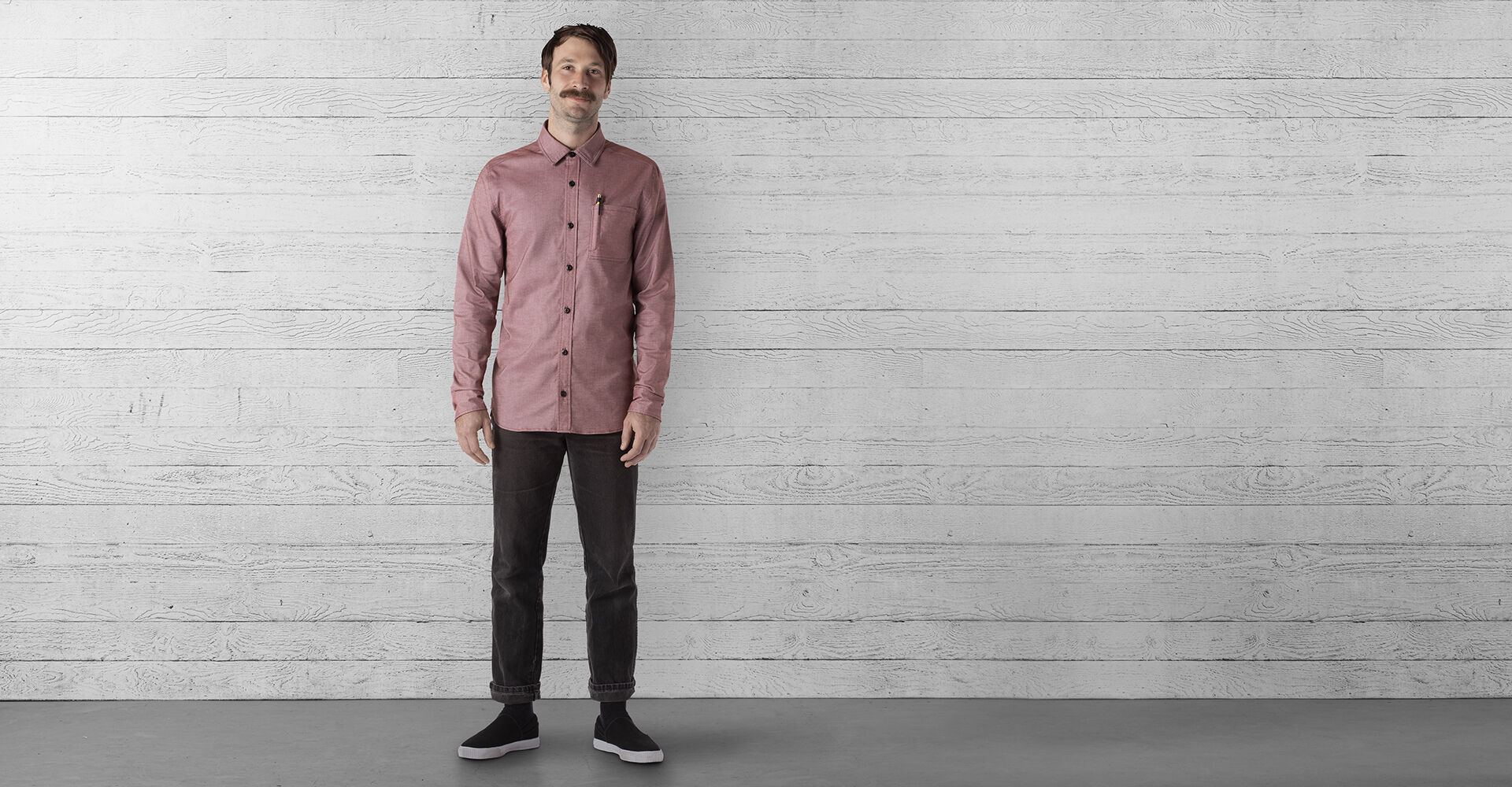 Stretch Chambray Workshirt in Andorra / Dune - wide view.