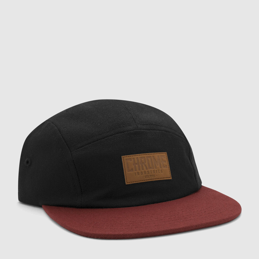 Canvas Five Panel Hat in Black / Maroon - large view.
