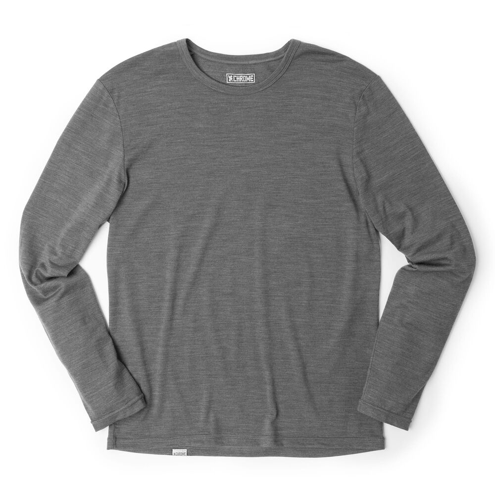 Merino Long Sleeve Tee in Charcoal  - large view.