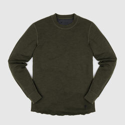Merino Wool Crewneck Long Sleeve Shirt in Olive Leaf - small view.