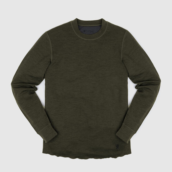 Merino Wool Crewneck Long Sleeve Shirt in Olive Leaf - medium view.