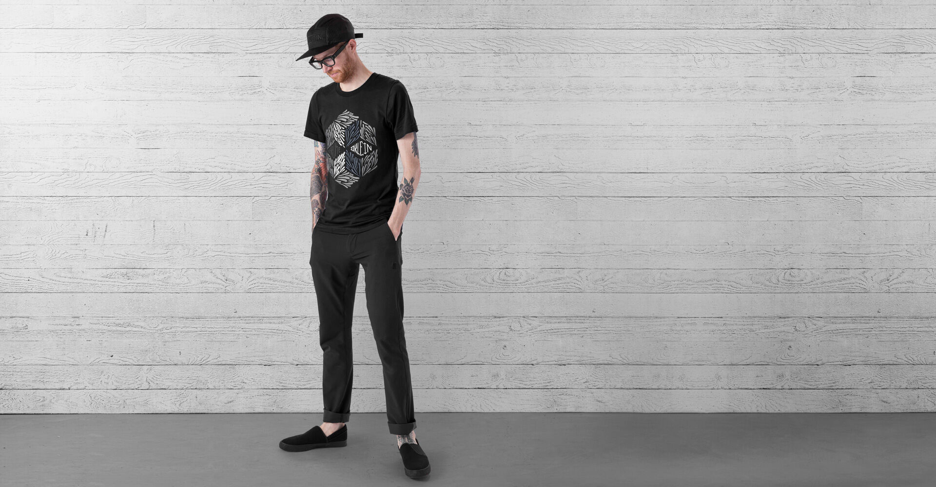 DKlein Short Sleeve Tee in Black - wide view.