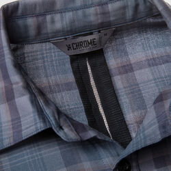 Woven Stretch Workshirt in Midnight Navy Plaid - small view.