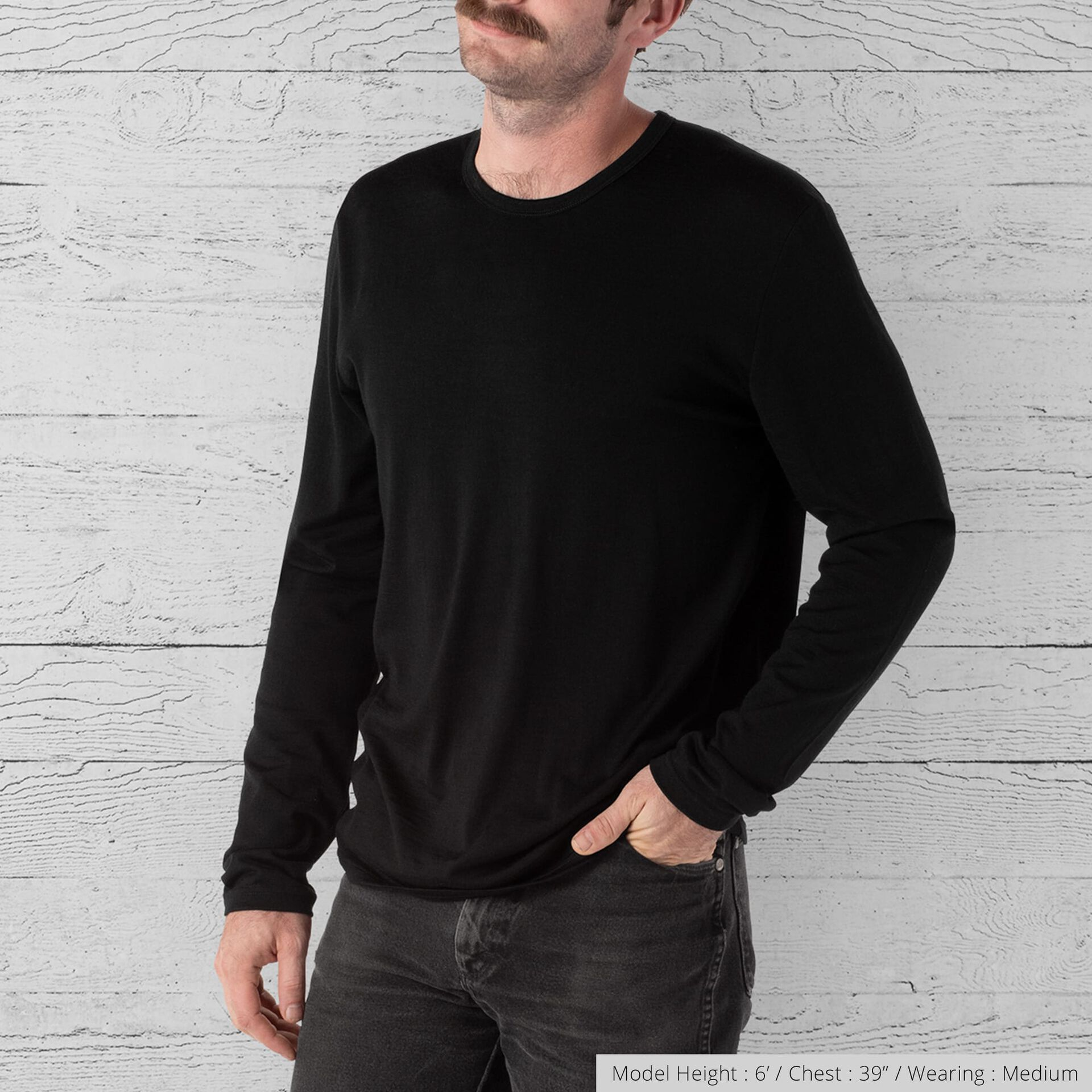 Merino Long Sleeve Tee in Black  - wide view.