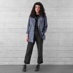 Woven Stretch Workshirt in Midnight Navy Plaid - wide-hi-res view.