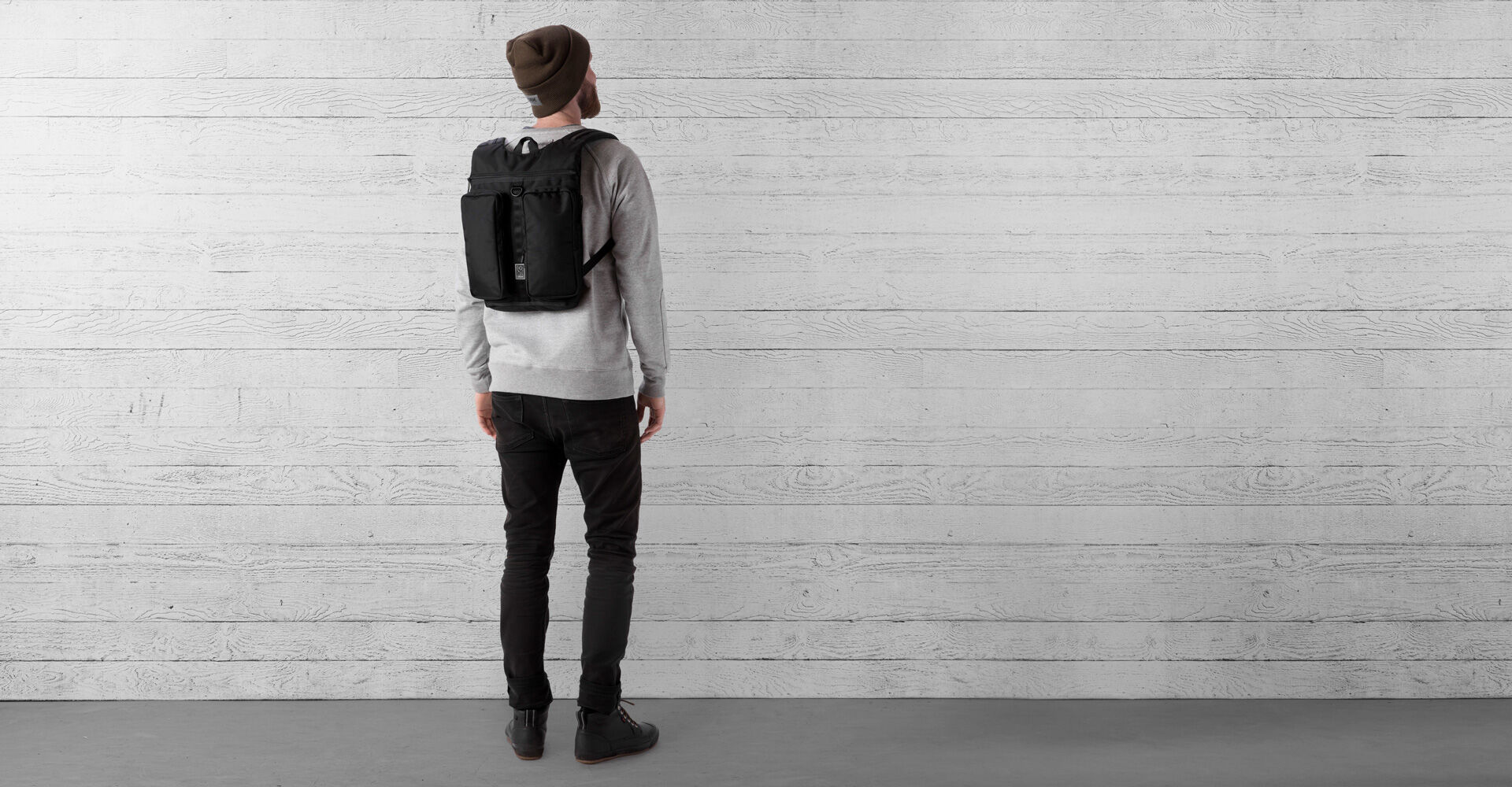 MXD Fathom Backpack in All Black - wide view.