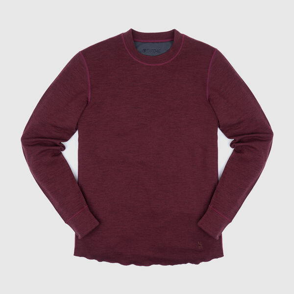 Merino Wool Crewneck Long Sleeve Shirt in Rum Raisin - medium view.