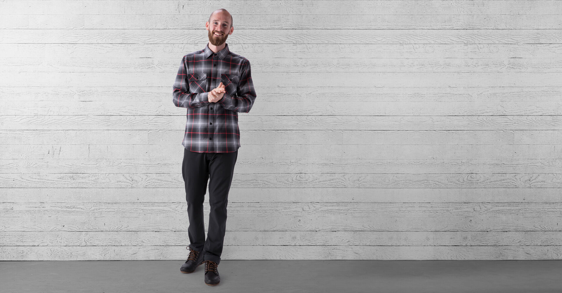 Woven Stretch Workshirt in Black Plaid - wide view.