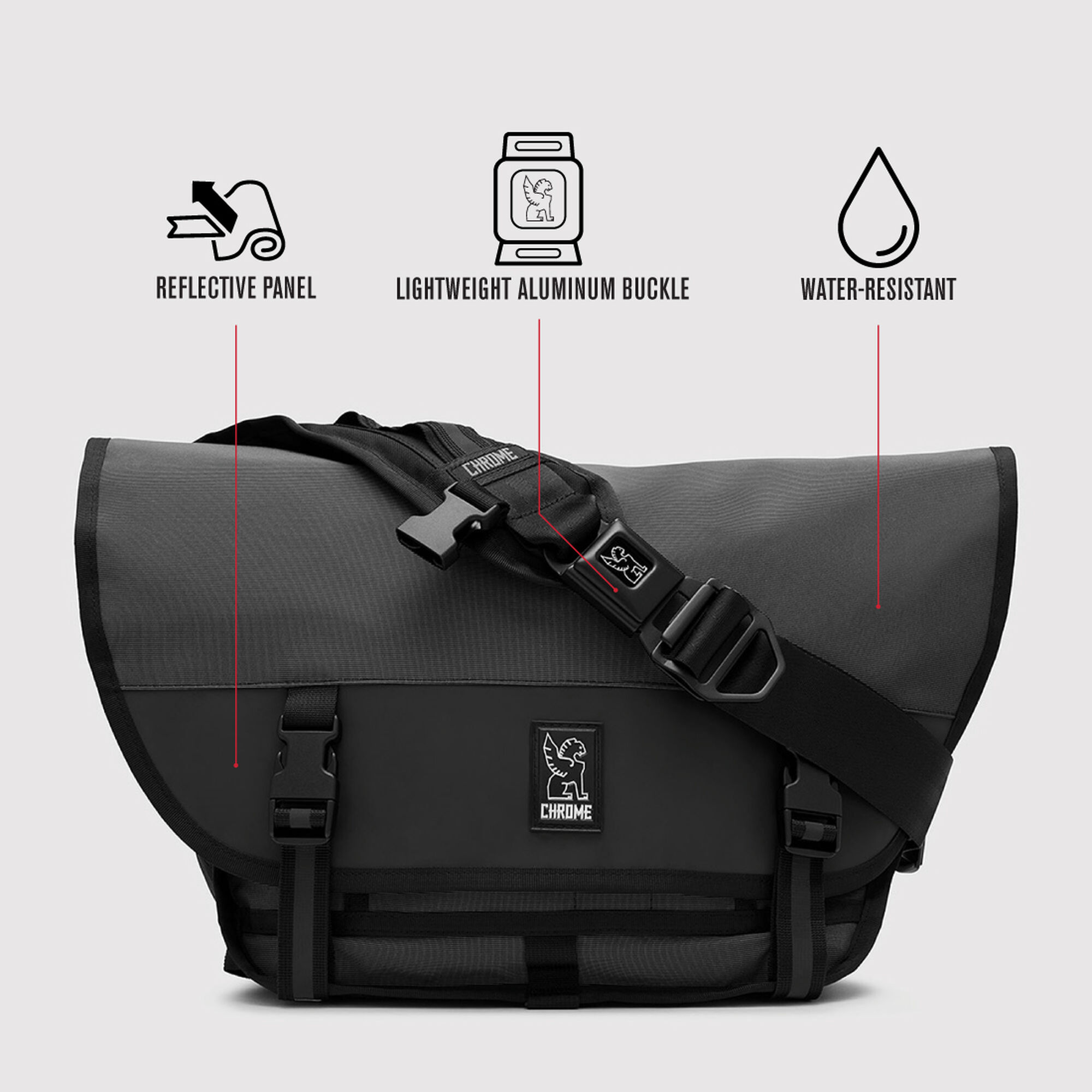 The Welterweight Mini Metro Messenger Bag in Charcoal   Black - small view. 0499f1f0c9