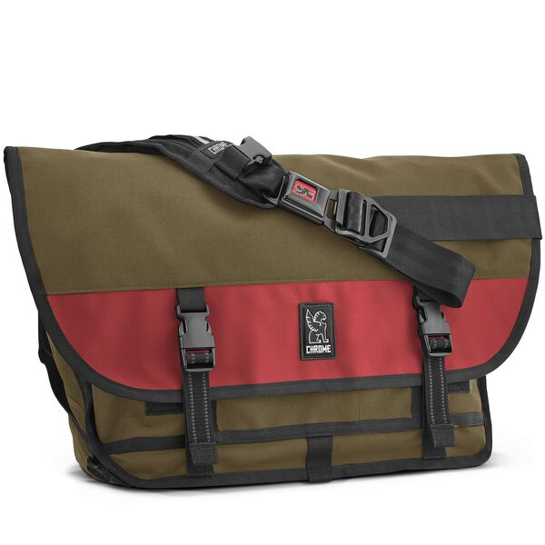 Citizen Messenger Bag in Olive / Red - hi-res view.