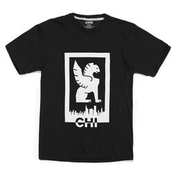 Chicago Hub Tee in Black / White Graphic - hi-res view.