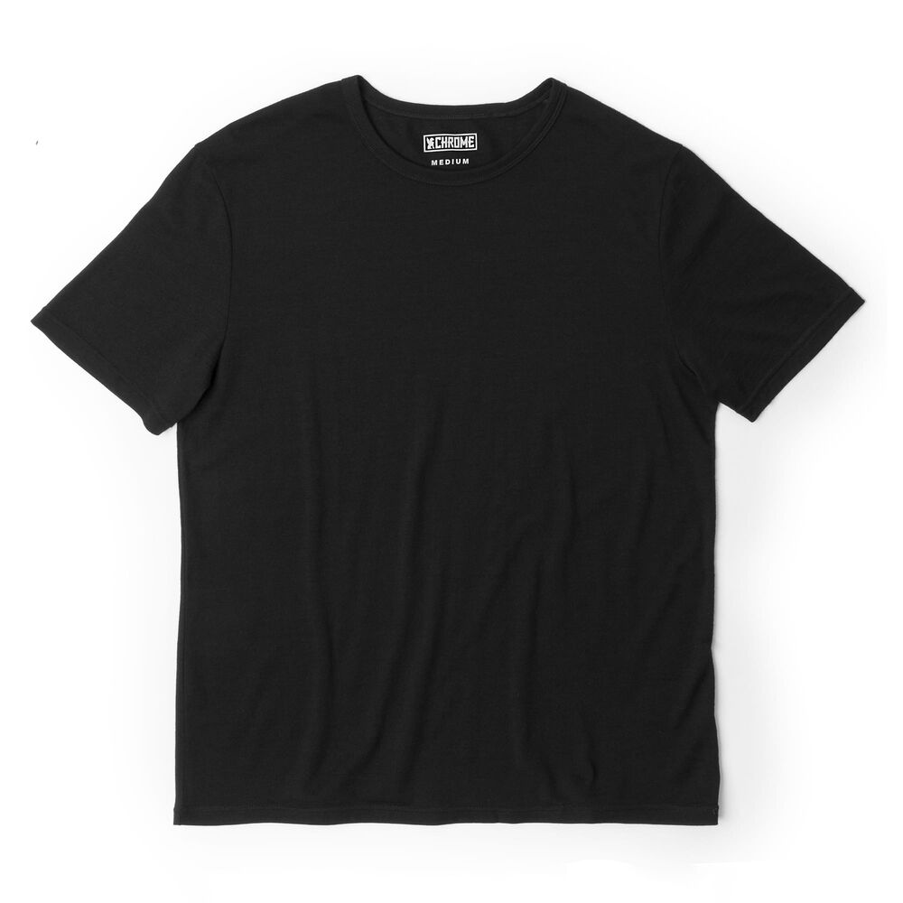 Merino Short Sleeve Tee in Black  - large view.