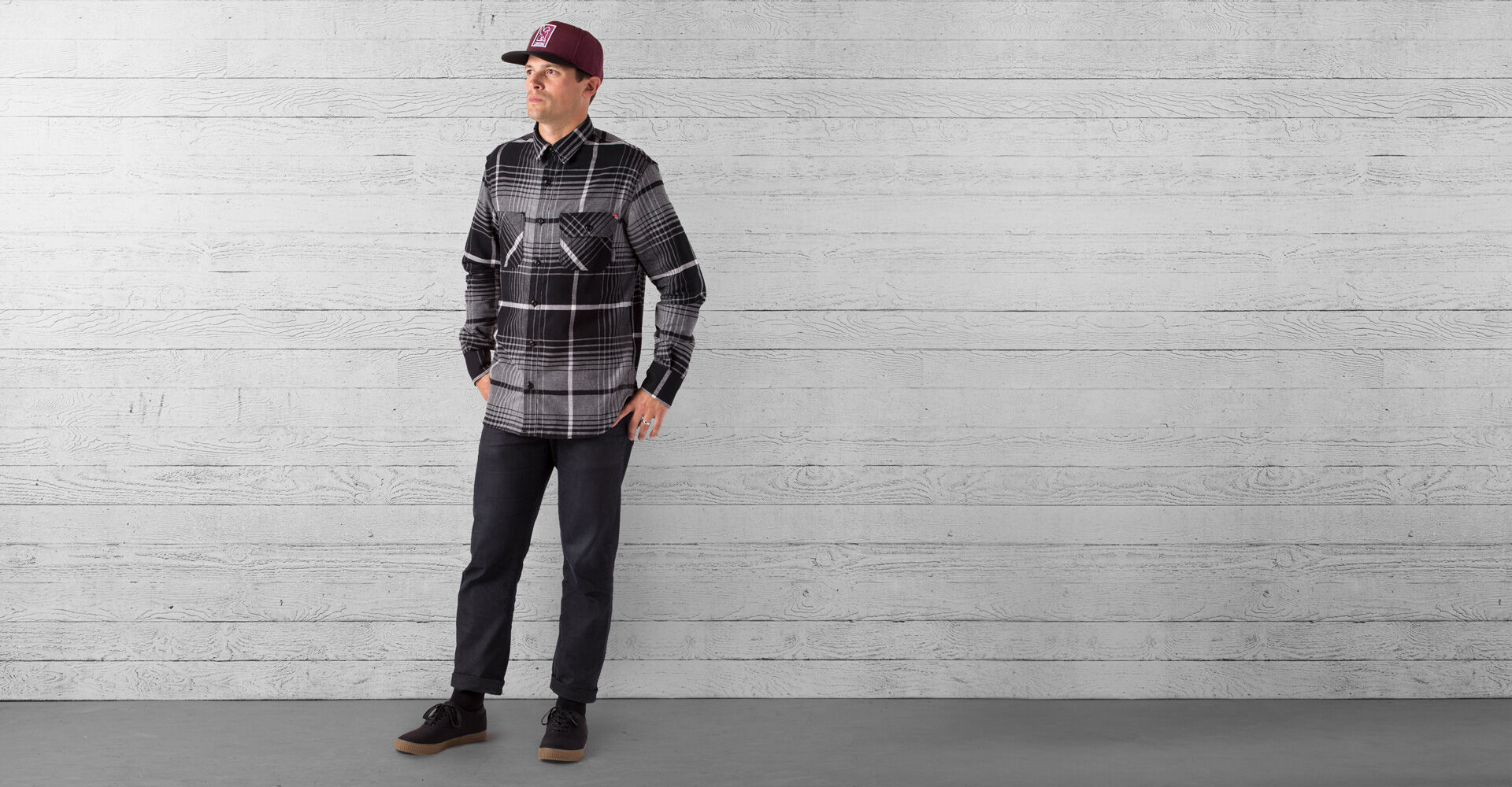 Woven Workshirt in Charcoal / Black Plaid - wide view.