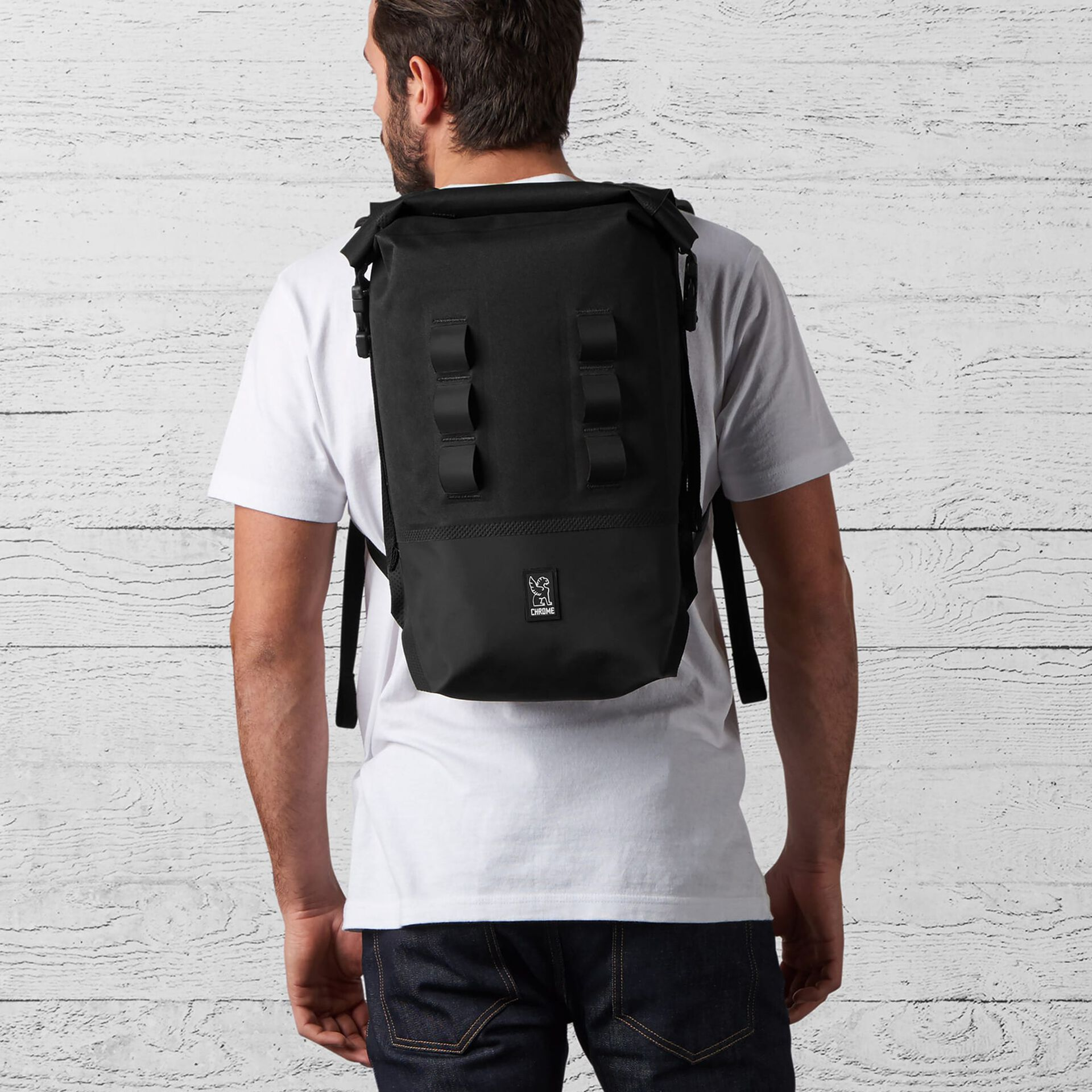 Urban Ex Rolltop 18L Backpack in Black - wide view.