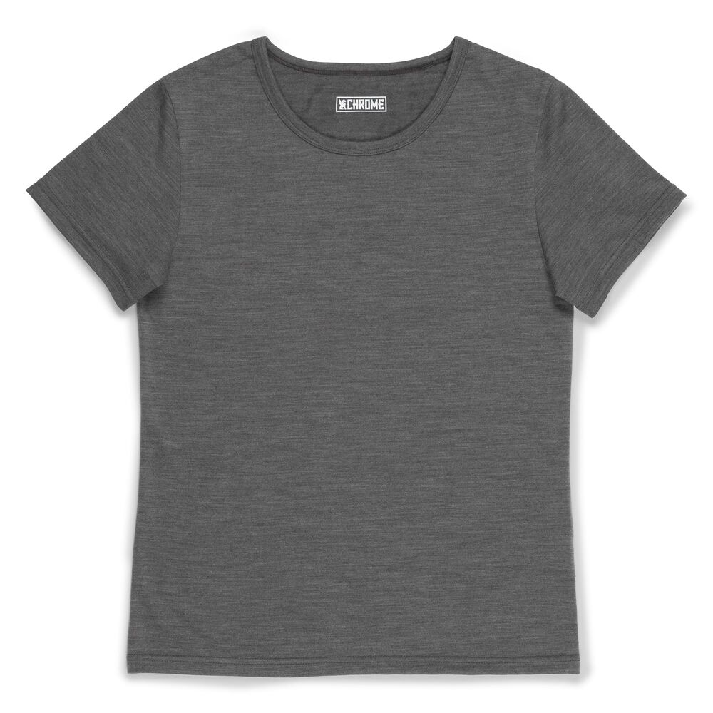 Women's Merino Short Sleeve Tee in Charcoal  - large view.