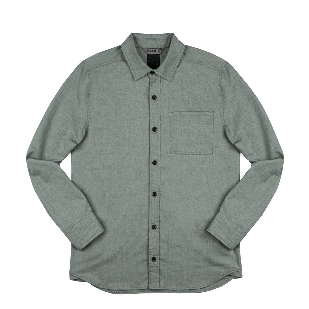 Stretch Chambray Workshirt in Olive Leaf - large view.