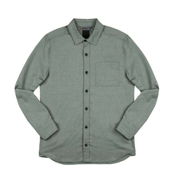 Stretch Chambray Workshirt in Olive Leaf - medium view.