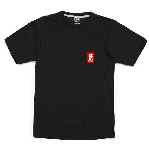 Vertical Logo Tee in Black / Red Graphic - hi-res view.