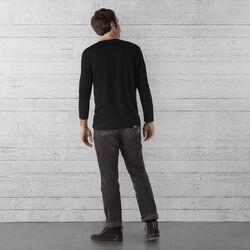 Merino Long Sleeve Tee in Black  - wide-hi-res view.