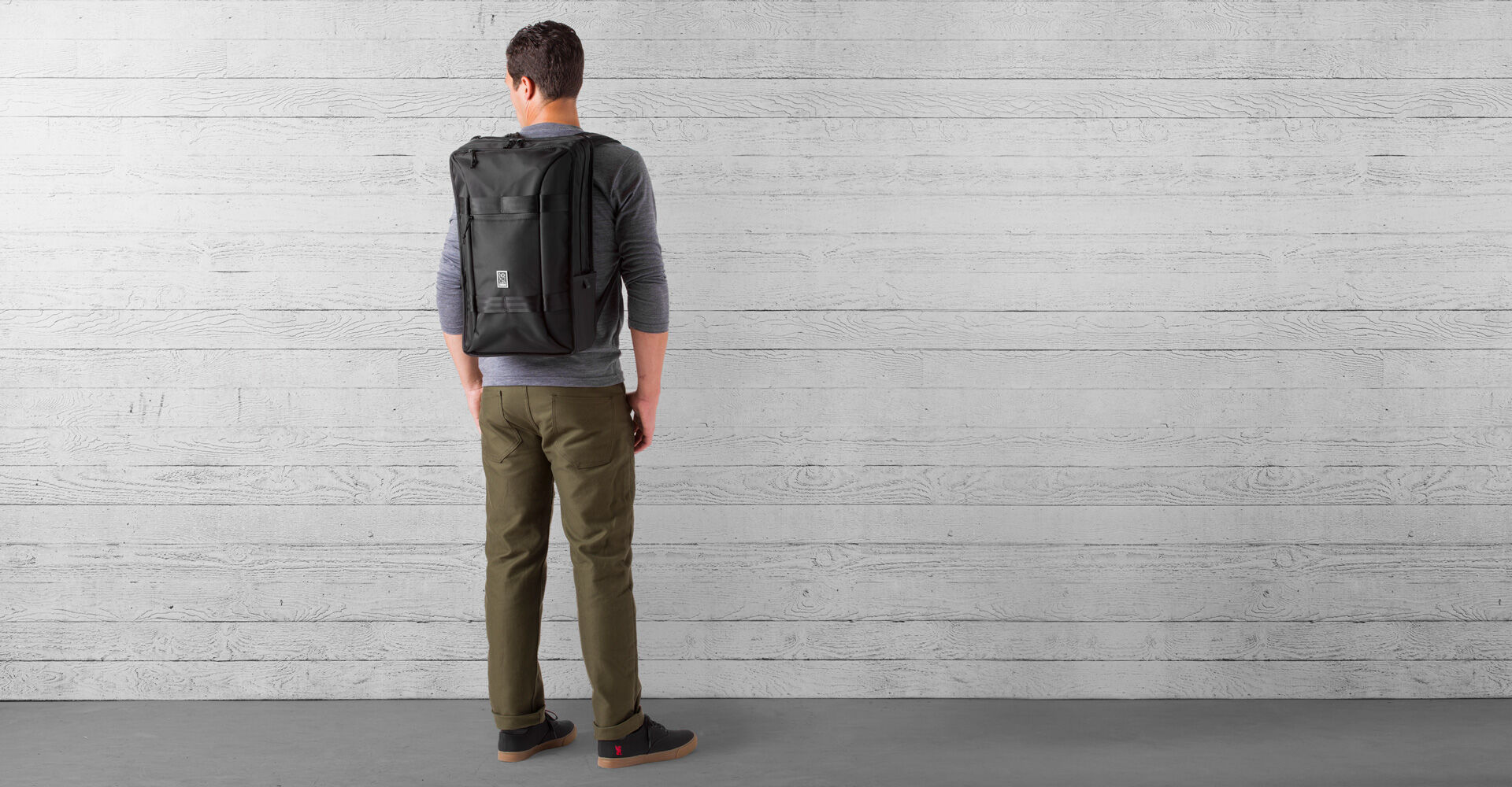 Hightower Transit Backpack in All Black - wide view.