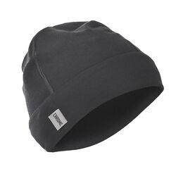 Merino Beanie in Black - hi-res view.
