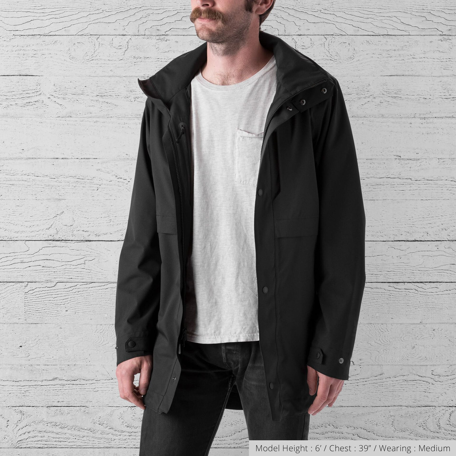 Stanton Rain Trench Jacket in Black - wide view.