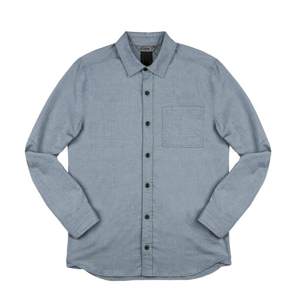 Stretch Chambray Workshirt in Midnight Navy - medium view.