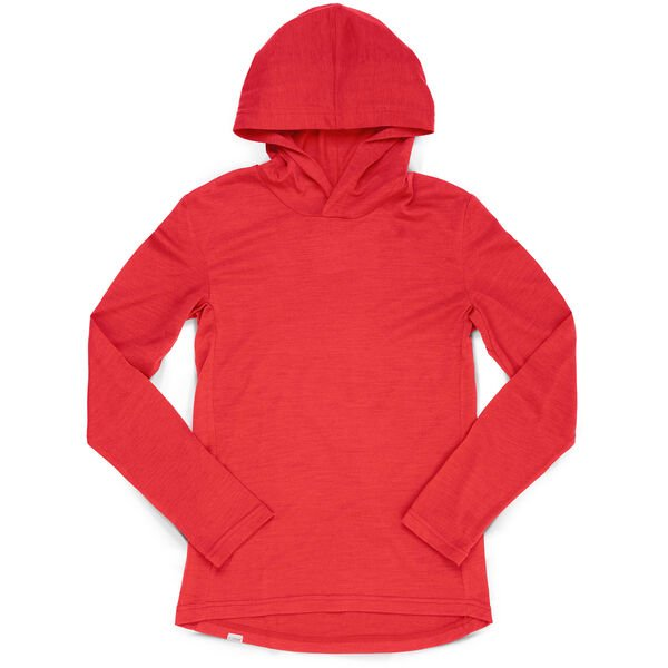 Women's Merino Long Sleeve Hoodie in Poppy - hi-res view.
