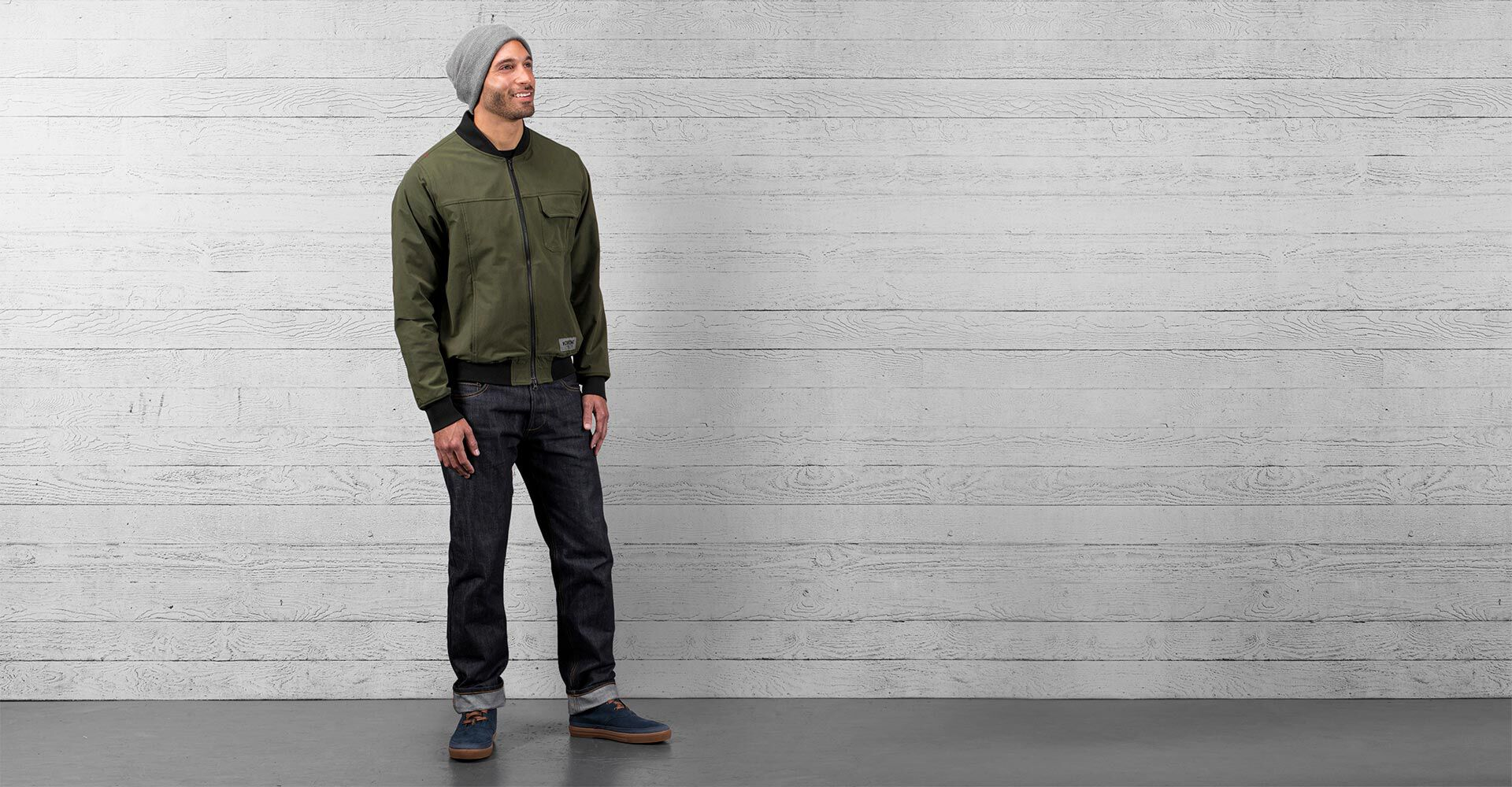 Utility Bomber Jacket in Olive - wide view.