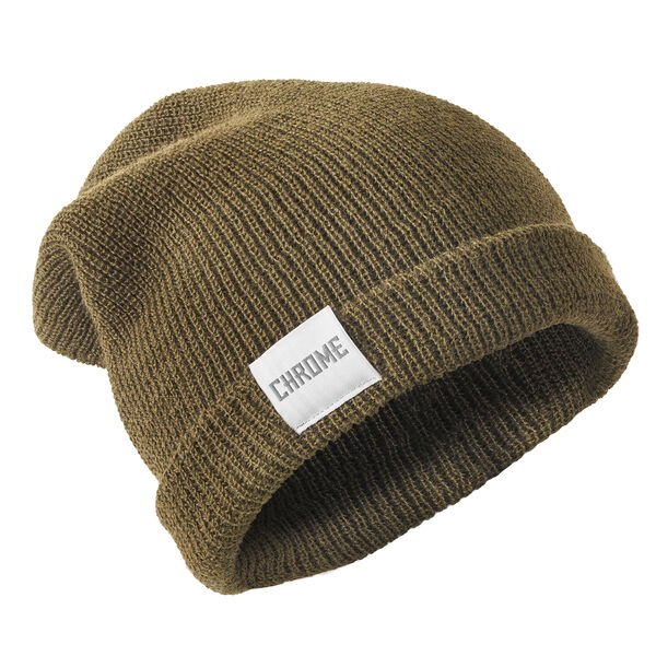 Wool Cuff Beanie in Olive - hi-res view.