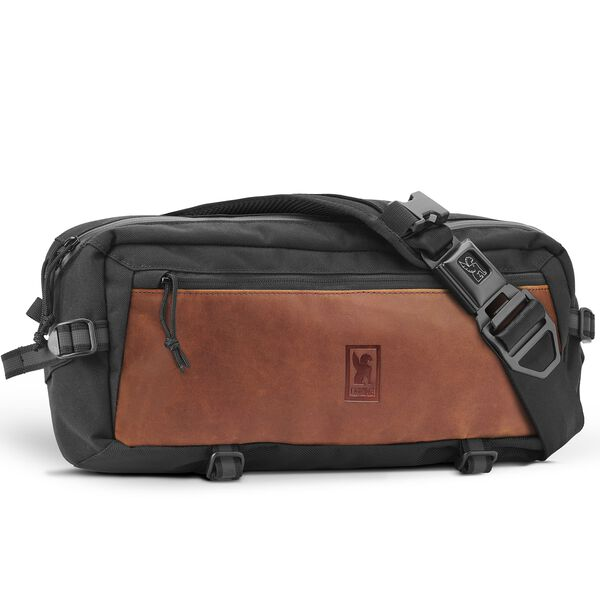 Kadet Sling Bag in Black / Brown Leather - hi-res view.