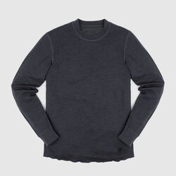 Merino Wool Crewneck Long Sleeve Shirt in Charcoal - small view.