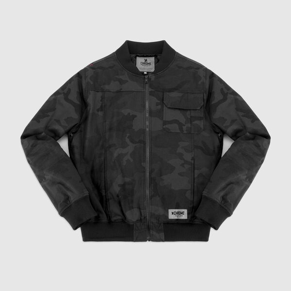 Utility Bomber Jacket in Black Camo - medium view.