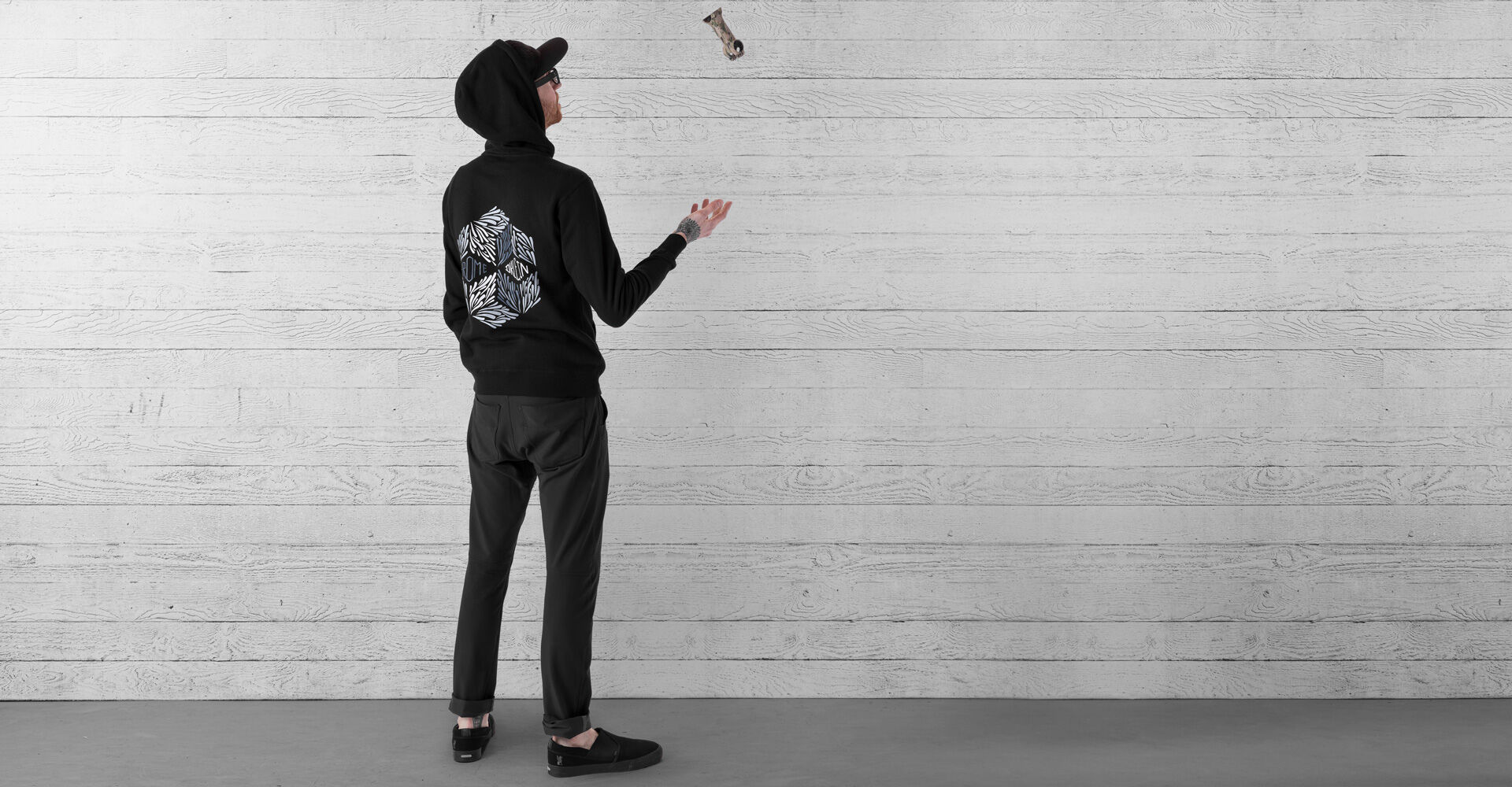 DKlein Graphic Hoodie in Black - wide view.