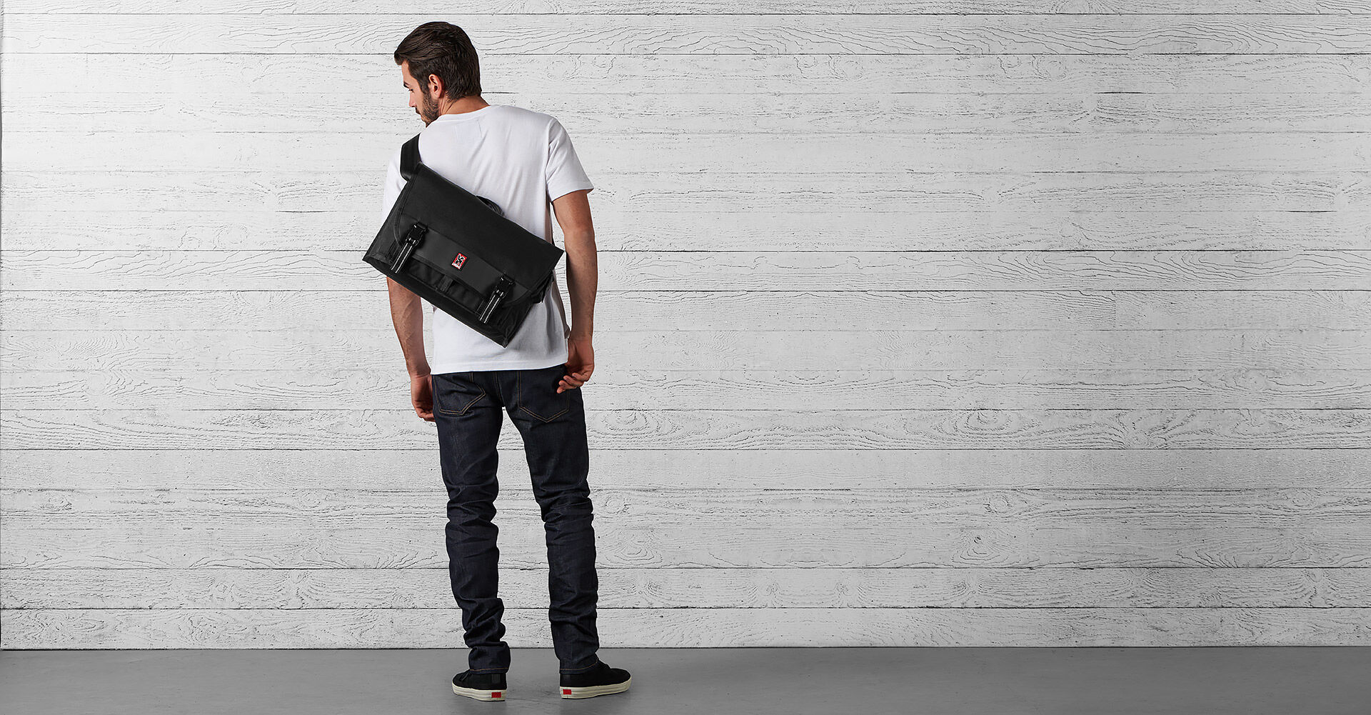 Conway Messenger Bag in Black - wide view.