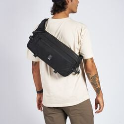 Kadet Sling Bag in Black / Aluminum - hi-res view.