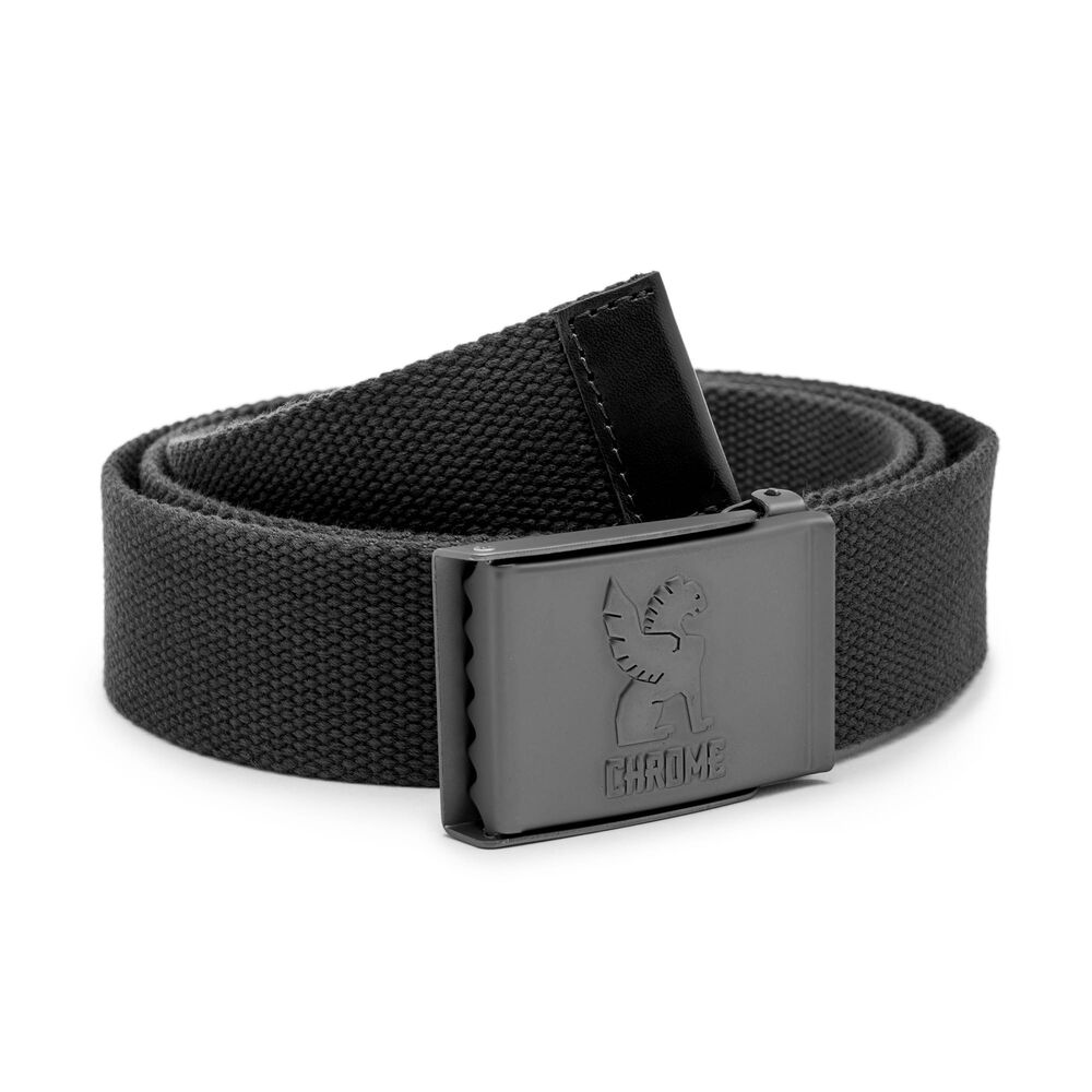Webbed Belt in Black - hi-res view.